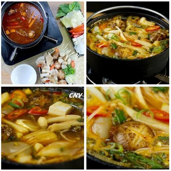 cách nấu lẩu nấm chay chua cay