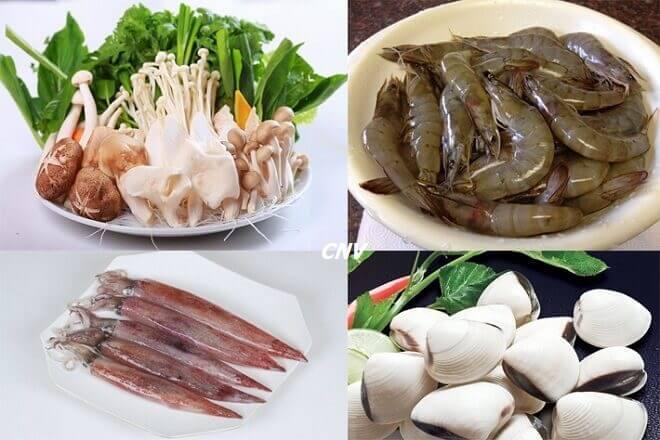 nguyên liệu chế biến lẩu nấm hải sản